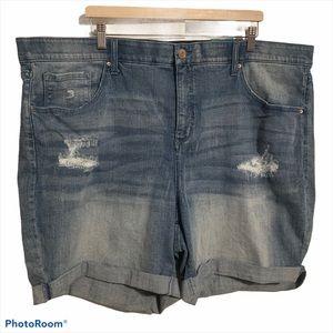 Terra & Sky 26W shorts denim tummy control M wash